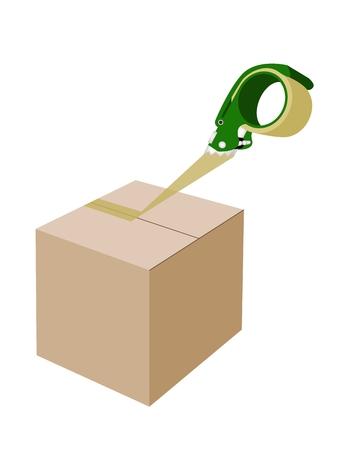 adhesive: Un dispensador de cinta de embalaje verde o dispensador de cinta adhesiva de cierre de una caja de cart�n marr�n aislados sobre fondo blanco.
