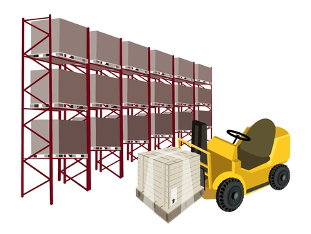 distribution picking up: Powered Industrial Forklift, Fork Heavy Machine, Fork Truck or Lift Truck Loading A Wooden Crate or Cargo Box in Industrial Warehouse and Cargo Shelf.  Illustration