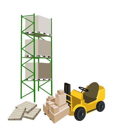 distribution picking up: Powered Industrial Forklift, Fork Heavy Machine, Fork Truck or Lift Truck Loading A Stack of Sealed Cardboard Boxes in Industrial Warehouse and Cargo Shelf, Ready for Shipping.