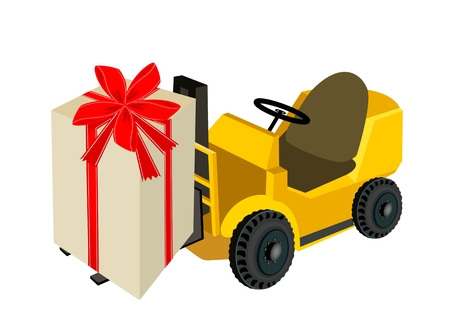 Powered Industrial Forklift, Fork Heavy Machine, Fork Truck or Lift Truck Loading A Lovely Gift Boxes with Red Ribbon and Bow, A Perfect Gift or Present for Someone Special.  Vector