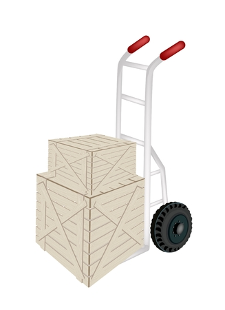 Hand Truck or Dolly Loading Two Wooden Crate or Cargo Box Isolated on White Background, Ready for Shipping or Delivery.   Vector