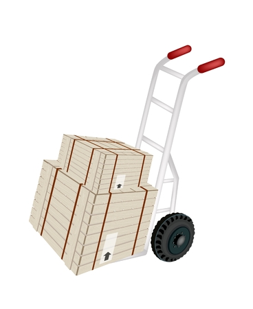 Hand Truck or Dolly Loading Two Wooden Crate or Cargo Box Wrapped in Steel Banding Isolated on White Background, Ready for Shipping or Delivery.    Vector
