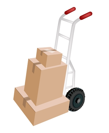 Hand Truck or Dolly Loading A Stack of Sealed Cardboard Boxes Isolated on White Background, Ready for Shipping or Delivery. 