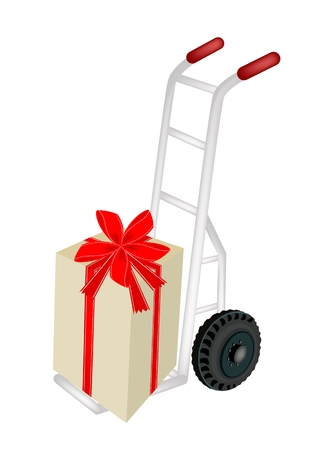Hand Truck or Dolly Loading A Lovely Gift Boxes with Red Ribbon and Bow, A Perfect Gift or Present for Someone Special.  Vector