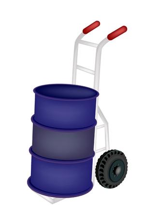 oliedrum: Vrachtwagen van de Hand of Dolly Laden Een blauwe kleur van Oil Drum of Olievat op een witte achtergrond. Stock Illustratie