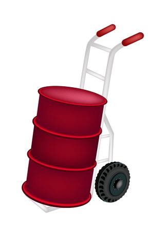 oliedrum: Vrachtwagen van de Hand of Dolly Laden Een rode kleur van Oil Drum of Olievat op een witte achtergrond.