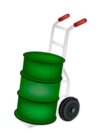 oliedrum: Vrachtwagen van de Hand of Dolly Laden Een groene kleur van Oil Drum of Olievat op een witte achtergrond. Stock Illustratie
