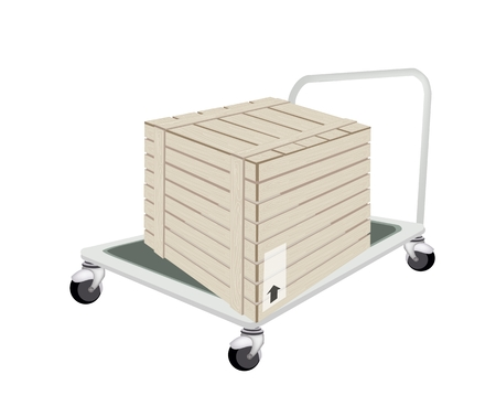 Hand Truck or Dolly Loading A Wooden Crate or Cargo Box Isolated on White Background, Ready for Shipping or Delivery.   Vector