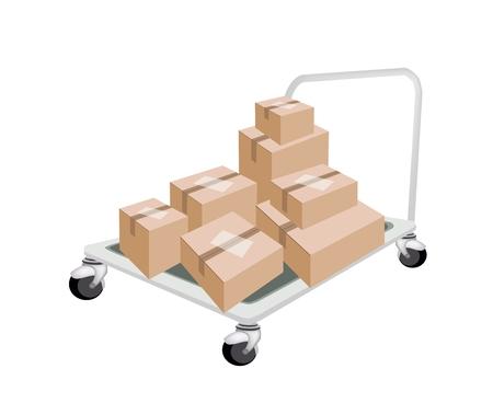 dolly: Un camion di mano o Dolly Caricamento pila di scatole di cartone sigillate isolato su sfondo bianco, pronto per la spedizione o consegna.