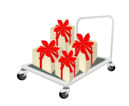 dolly: Hand Truck or Dolly Loading A Beautiful Gift Boxes with Red Ribbon and Bow, A Perfect Gift or Present for Someone Special.