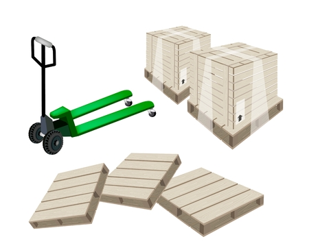 distribution picking up: A Fork Pallet Truck Loading A Wooden Crate or Cargo Box Isolated on White Background, Ready for Shipping or Delivery.