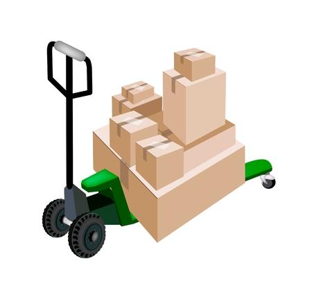 Transpallet forche inserire una risma di Sealed scatole di cartone isolato su sfondo bianco, pronto per la spedizione o consegna.