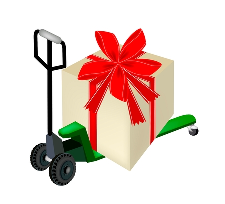 Green Fork Pallet Truck Loading A Lovely Gift Boxes with Red Ribbon and Bow, A Perfect Gift or Present for Someone Special.  Vector