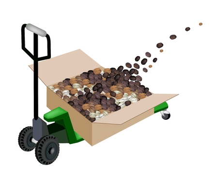 Fork Pallet Truck Loading Cardboard Boxes full with Roasted Coffee Beans Stack Isolated on White Background, Ready for Shipping or Delivery.   Vector