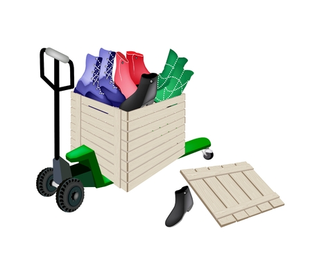 Fork Pallet Truck Loading A Wooden Crate or Cargo Box full with Various Style of Fashionable Woman Ankle Boot, Ready for Shipping or Delivery.   Vector