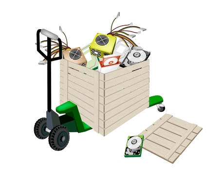 disk drive: Fork Pallet Truck Loading A Wooden Crate or Cargo Box full with CD-ROM Disk Drive, Power Supply Box, Computer Hard Disk for Desktop Computer or Desktop PC.