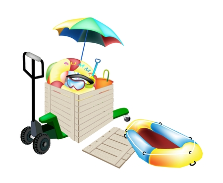 Fork Pallet Truck Loading A Wooden Crate or Cargo Box full with Beach Ball, Inner Tube, Umbrella, Deck Chair, Beach Bucket and Spade for Shipping or Delivery.   Vector