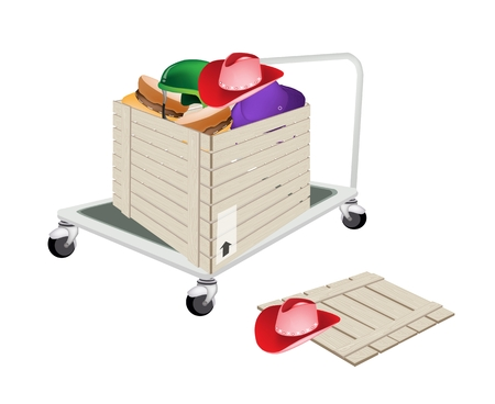 Fork Pallet Truck Loading A Wooden Crate or Cargo Box full with Various Colors and Style of Fashion Hats, Ready for Shipping or Delivery.   Vector
