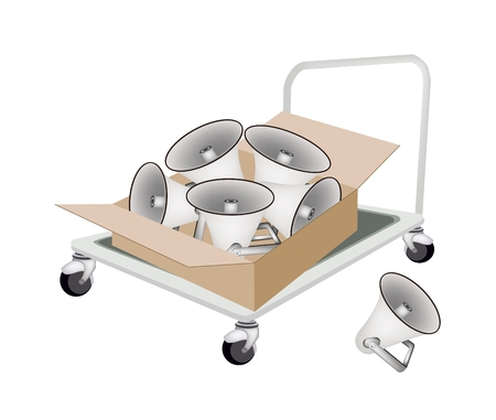 dolly: Hand Truck or Dolly Loading Cardboard Box Full with Megaphones or Loudspeakers, Ready for Shipping or Delivery.   Illustration
