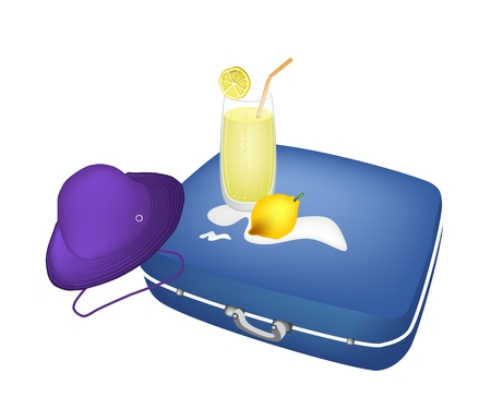 passenger compartment: A Luggage or Travel Suitcase with Traveller Hat and Fresh Lemon Juice Isolated on White Background.  Illustration