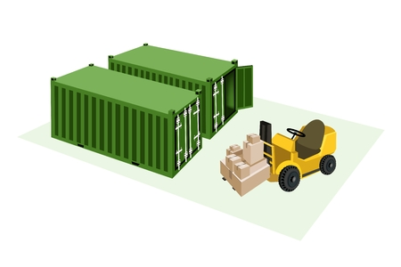 distribution picking up: Powered Industrial Forklift, Fork Heavy Machine, Fork Truck or Lift Truck Loading A Stack of Sealed Cardboard Boxes into Cargo Containers, Ready for Shipping.