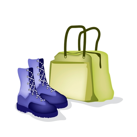 passenger compartment: A Luggage or Travel Bag with Fashionable Woman Ankle Boot Isolated on White Background, Preparing to Travel Abroad.