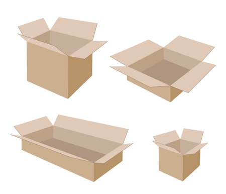 Various Size of Open Empty Cardboard Box Isolated on White Background, For Packaging Products and Materials.  Vector