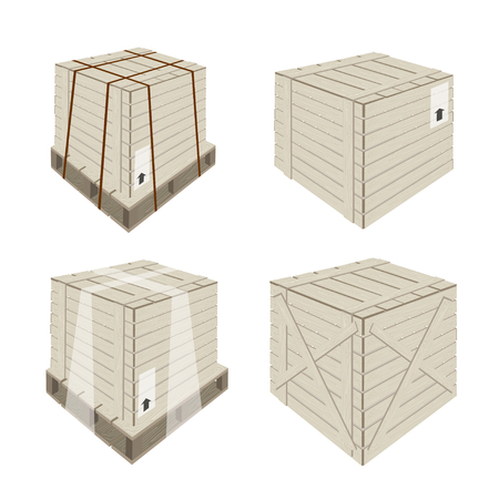 Illustration Collection of Wooden Crate or Cargo Box For Secure Cargo Transportation.  Vector