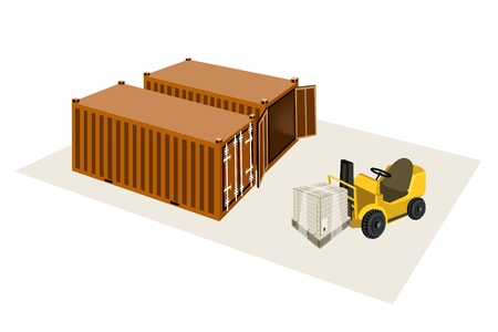 distribution picking up: Powered Industrial Forklift, Fork Heavy Machine, Fork Truck or Lift Truck Loading A Wooden Crate or Cargo Box into Cargo Containers.  Illustration