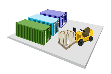 strapping: Powered Industrial Forklift, Fork Heavy Machine, Fork Truck or Lift Truck Loading A Wooden Crate or Cargo Box with Steel Banding on A Wooden Pallet into A Cargo Container.  Illustration