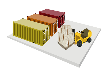 Powered Industrial Forklift, Fork Heavy Machine, Fork Truck or Lift Truck Loading Stack of Wooden Crates or Cargo Boxes into A Cargo Container.  Vector