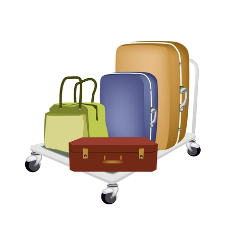 A Hand Truck or Dolly Loading Luggage, Travel Suitcase and Travel Bag For Traveling Around The World..   Vector