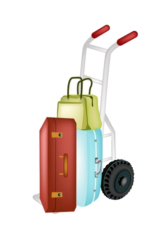 Hand Truck or Dolly Loading Luggage, Travel Suitcase and Travel Bag For Traveling Around The World.  Vector