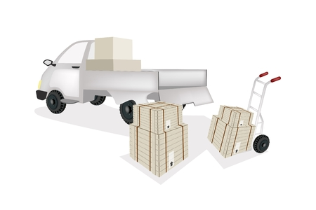 Hand Truck or Dolly Loading Wooden Crate or Cargo Box into A Pickup, Ready for Shipping or Delivery.  Vector