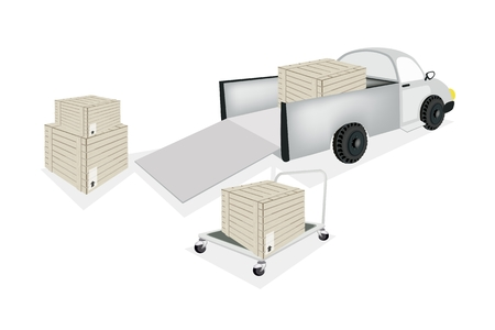dolly: A Hand Truck or Dolly Loading Wooden Crate or Cargo Box into A Pickup, Ready for Shipping or Delivery.