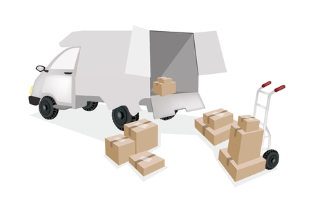 A Hand Truck or Dolly Loading Corrugated Cardboard or Cardboard Box into A Delivery Van, Ready for Shipping or Delivery.  Vector