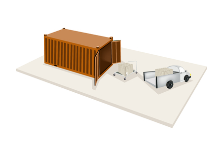 Hand Truck or Dolly Loading Wooden Crate or Cargo Box From A Pickup Truck into Cargo Container, Ready for Shipping or Delivery.  Vector