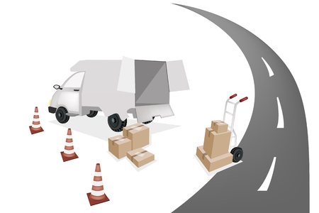 A Hand Truck or Dolly Loading Wooden Crate or Cargo Box into A Delivery Van on The Road, Ready for Shipping or Delivery.  Vector