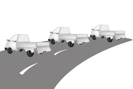 Illustration of Three Pickup on The Road, A Light Truck for Trucking Products and Materials and Ready for Shipping or Delivery.