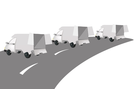 Illustration of Three Delivery Van on The Road for Trucking Products and Materials, Ready for Shipping or Delivery.  Vector