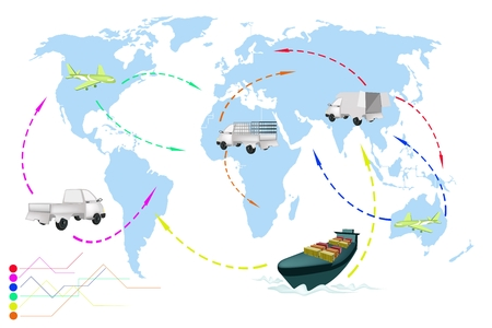 Detailed Illustration Flight Paths of Transportation and Logistics On A Global Scale.  Vector