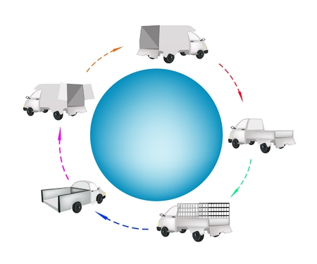 Various Type of Pickup Truck and Delivery Van Around A Blue Circle Banner for Trucking Products and Materials, Ready for Shipping or Delivery.  Illustration