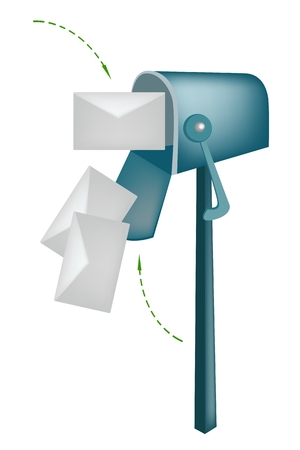 receptacle: An Open Standard Mailbox or Letter Box with Envelopes, Mailbox Is A Private Receptacle for Incoming Mail.  Illustration