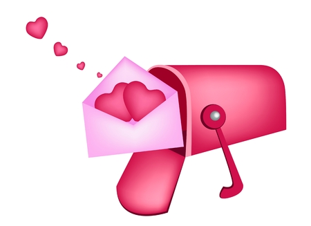 An Open Standard Mailbox or Letter Box Receiving Love Letter and Two Heart in Pink Envelopes, A Perfect Romantic Gift or Present for Someone Special.