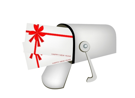 Open Standard Mailbox or Letter Box with Gift Card or New Year Greeting Card with Beautiful Red Bows and Ribbon, For Someone Special.  Vector