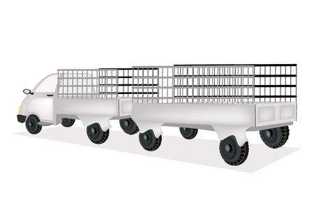 Illustration of Truck Towing A Utility Trailer   Vector