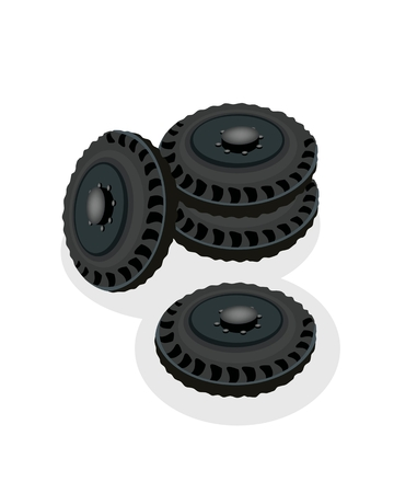 Stack of Tires or Car Wheels, Equipment for Car or Truck Vector