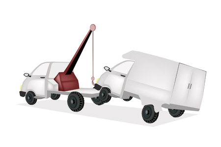 An Illustration of Auto Wrecker Tow Truck  Vector