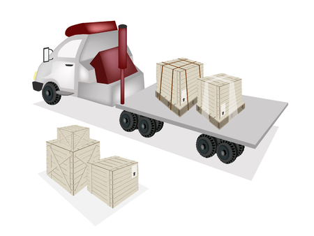 A Group of Wooden Crates or Cargo Boxes on The Back of A Flatbed Truck, Tractor Trailer or Flatbed Articulated Lorry.  Vector