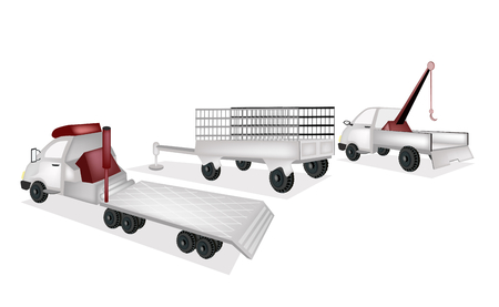 A Tractor Trailer or Flatbed Articulated Lorry, Utility Trailer or Goods Trailer and Breakdown Lorry   Illustration